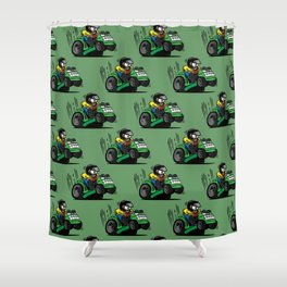 Cartoon racing riding lawnmower tractor popping a wheelie Shower Curtain