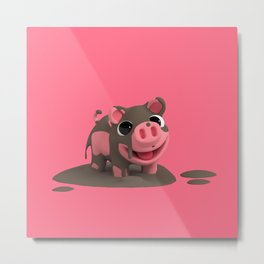 Rosa the Pig loves the Mud Metal Print