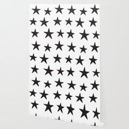 Star Pattern Black On White Wallpaper