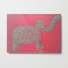Elephant On Red Metal Print