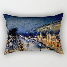 The Boulevard Montmartre At Night : Camille Pissarro Rectangular Pillow