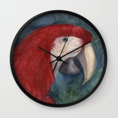 Red Macaw Wall Clock