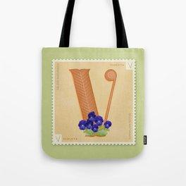 Sellos Naturales. Letter V. Flower: Violets Tote Bag