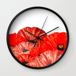 Poppies on White Wall Clock