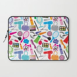 make up collection background (seamless pattern, beauty and makeup design) Laptop Sleeve
