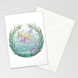 Leafy Seadragon in Lilac Stationery Cards