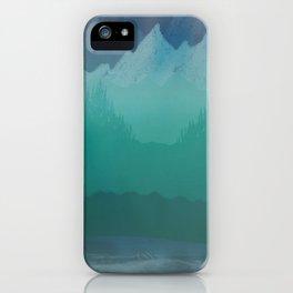 Ombre Mountainscape (Blue, Aqua) iPhone Case