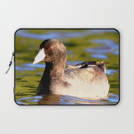 Watercolor Bird American Coot 02, Riding the Current Laptop Sleeve
