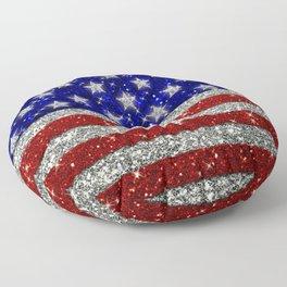 Glitter Sparkle American Flag Pattern Floor Pillow