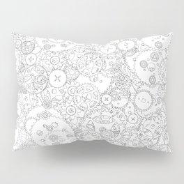 Clockwork B&W / Cogs and clockwork parts lineart pattern Pillow Sham