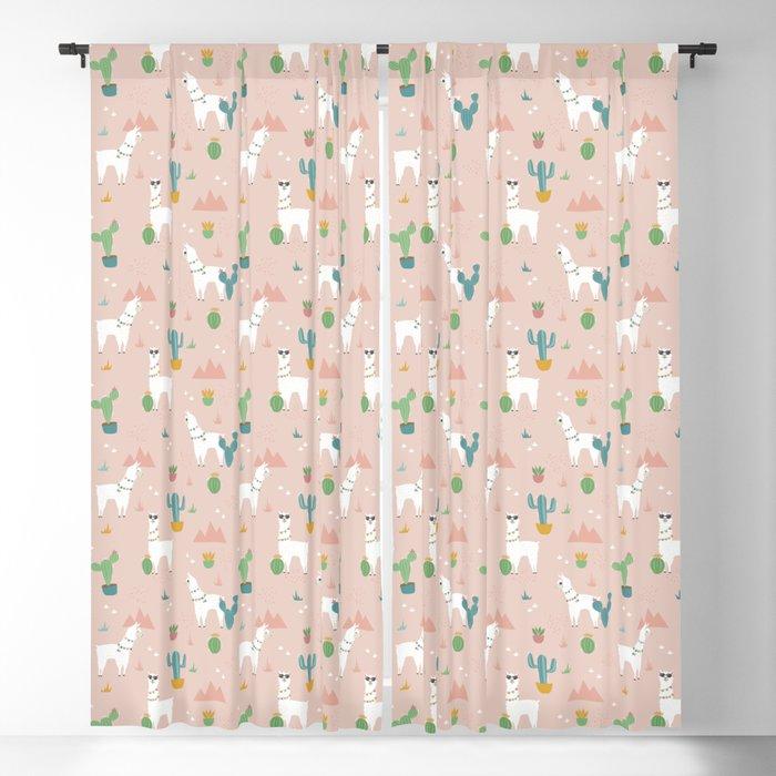 Summer Llamas on Pink Blackout Curtain