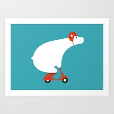 Polar bear on scooter Art Print