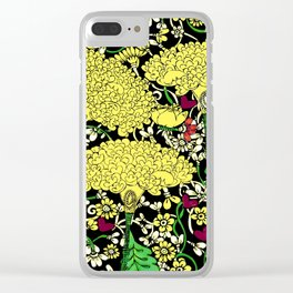 YELLOW & BLACK FLORAL FRIVOLITY FANTASY GARDEN Clear iPhone Case