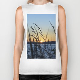 Sunset Sea Grass Biker Tank