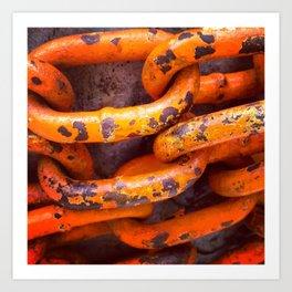 Orange Chains Art Print