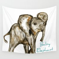 baby elephant Wall Tapestries featuring Baby Elephant Blue by James Peart