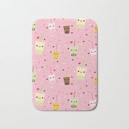 Happy Boba Bubble Tea Pink Bath Mat