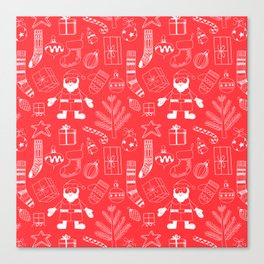 Doodle Christmas pattern red Canvas Print