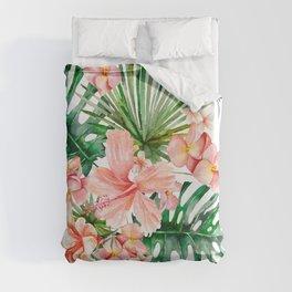 Tropical Jungle Hibiscus Flowers - Floral Duvet Cover