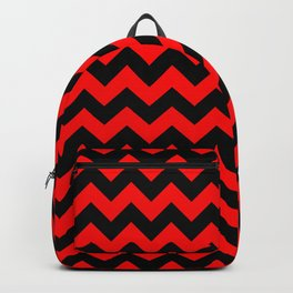 Large Red Devil and Black Halloween Chevron Zigzag Stripes Backpack