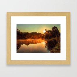 Sunrise at the lake/Sonnenaufgang am See Framed Art Print
