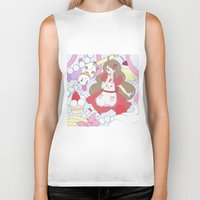 bee and puppycat Biker Tanks featuring Bee & puppycat ver 1 by Kurodoj