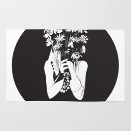 Flower Junkie - Black and White Digital Drawing of Girl holding Flowers Rug