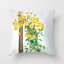 sun choke flowers outside a house Throw Pillow