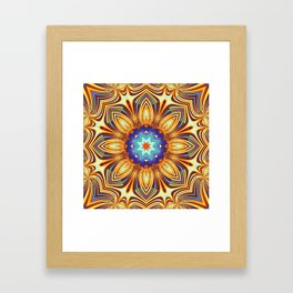 Kaleidoscope abstract with a flower shape and tribal patterns Framed Art Print