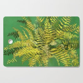 Golden Fern, Floral Painting Green Yellow  Cutting Board