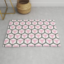 Moroccan Inspired Pink and Black Tile-Style 2 Graphic Design Rug
