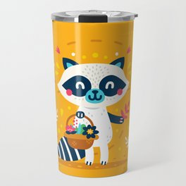 Cute Raccoon Collect Flowes Travel Mug