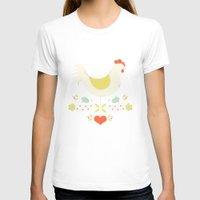 folk T-shirts featuring Folk Chicken by Jenny Tiffany