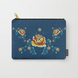 Yellow Embroidery Rose Carry-All Pouch