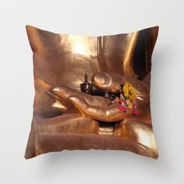Golden Buddha - Hand with Flowers Throw Pillow