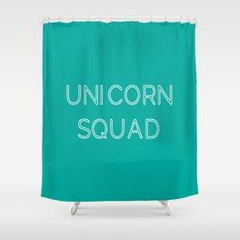 Unicorn Squad - Aqua Blue Green and White Shower Curtain