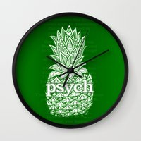 psych Wall Clocks featuring Psych Pineapple! by Alohalani