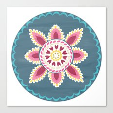 Suzani inspired floral blue 2 Canvas Print