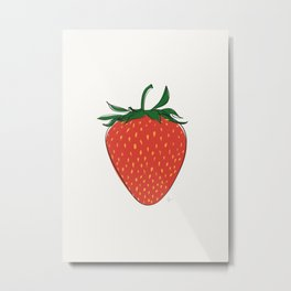 Red Strawberry Pattern Metal Print