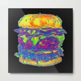 neon bacon cheeseburger Metal Print