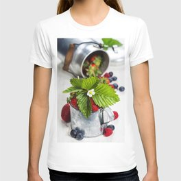 Fresh Berries on Wooden Background T-shirt