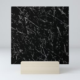 Grunge Distressed Seamless Repeating Pattern White on Black Mini Art Print
