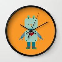 robot Wall Clocks featuring Robot by Milanesa