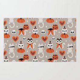 Halloween Kitties (Gray) Rug