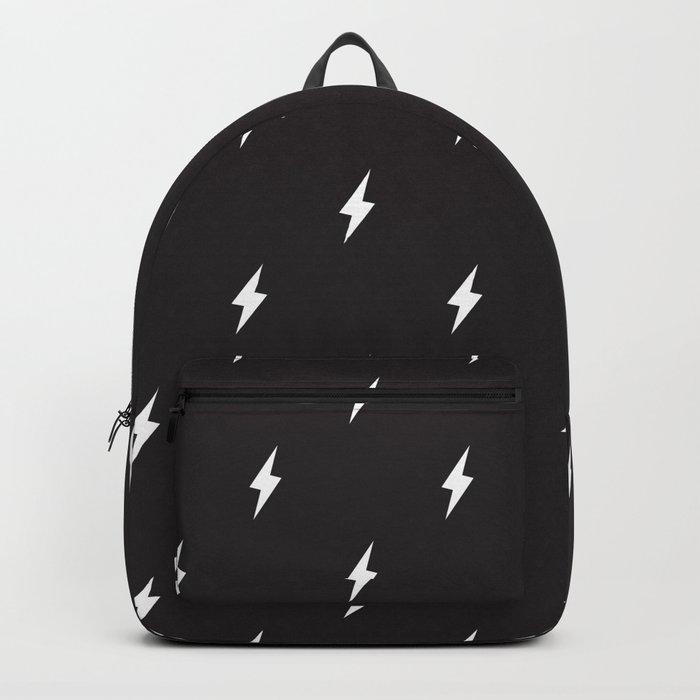 Lightning Bolt Pattern Black & White Backpack