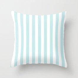 Duck Egg Pale Aqua Blue and White Wide Vertical Beach Hut Stripe Throw Pillow