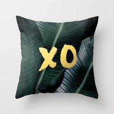 XO gold - banana leaf Throw Pillow