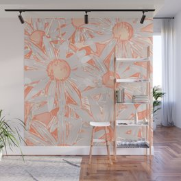 Daisy Floral Pattern, Citrus Coral Wall Mural