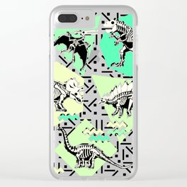 90's Dinosaur Skeleton Neon Pattern Clear iPhone Case