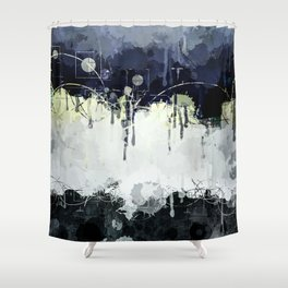 Modern Indigo Eclipse Abstract Design Shower Curtain